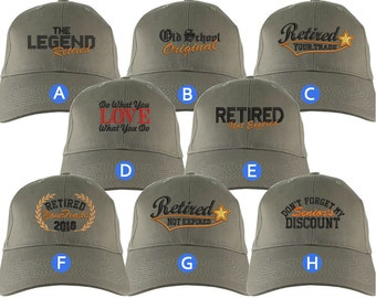 Custom Retirement Embroidery Design on a Khaki Structured Classic Adjustable Baseball Cap Selection of 8 Designs Some Personalized + Options