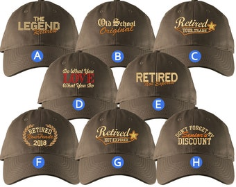 Custom Retirement Embroidery Design Brown Unstructured Classic Adjustable Baseball Cap Selection of 8 Designs Some Personalized + Options