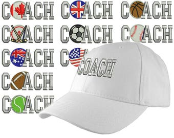 Custom Personalized Coach Embroidery on an Adjustable Structured White Baseball Cap Front Decor Selection with Options for Side and Back