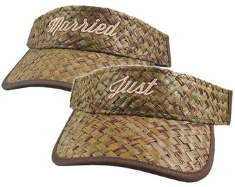 Just Married 3D Puff Raised Embroidery on a Pair of Adjustable Stylish Fashion Olive Green Straw Wedding Visors Summer Hats