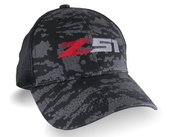 Automotive Z51 Corvette Embroidery on Adjustable Structured Trucker Mesh Cap in Black Urban Camo