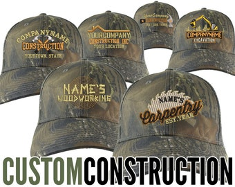 Construction Renovation Contractor Trade Embroidery on an Adjustable Woodsman Green Camo Structured Baseball Cap with Options to Personalize