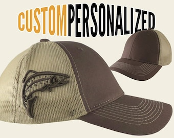 Custom Personalized Trout 3D Puff Raised Embroidery on an Adjustable Full Fit Brown Trucker Cap and Your Choice of Front Decors Fishing Hat