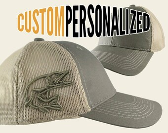 Custom Personalized Pike 3D Puff Embroidery on an Adjustable Full Fit Olive  Green Trucker Cap and Your Choice of Front Decors Fishing Hat 4e053cfa2fc