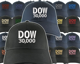 NYSE Hat Dow 30000 Stock Broker Custom Embroidery Adjustable Navy or Black Soft Structured Classic Baseball Cap + Personalization Options