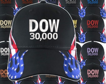 NYSE Hat Dow 30000 Stock Broker Custom Embroidery Adjustable Black Structured Low-Profile Baseball Cap with Personalization Options