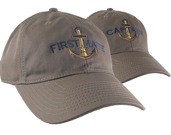 Nautical Star Golden Anchor Captain + First Mate Embroidery 2 Adjustable Light Brown Unstructured Ball Caps Options Personalize Both Hats