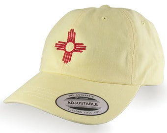 New Mexico State Flag Zia Symbol Red Embroidery Design on an Adjustable Retro Yellow Unstructured Classic Baseball Cap Dad Hat