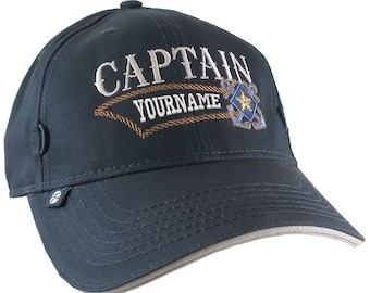 Nautical Star Crossed Anchors Boat Captain and Crew Personalized Embroidery Adjustable Navy Blue Structured Baseball Cap with Options