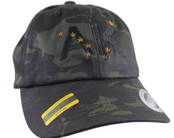 Alaska Flag AK Northern Stars Embroidery on Adjustable Black Multicam Unstructured Premium Yupoong Ball Cap + Options to Personalize