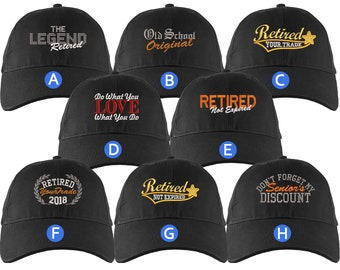 Custom Retirement Embroidery Design on a Black Structured Classic Adjustable Baseball Cap Selection of 8 Designs Some Personalized + Options