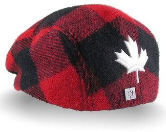 Made in Canada 3D Puff White Maple Leaf Embroidery on a Red Buffalo Check Plaid Woolen Unstructured Fitted Fashion Ivy Cap Lumberjack Style