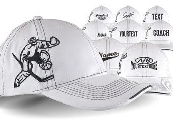 Custom Embroidery Options on an Adjustable Structured Classic Hockey Goal Tender Goalie White Baseball Cap with Personalization Options