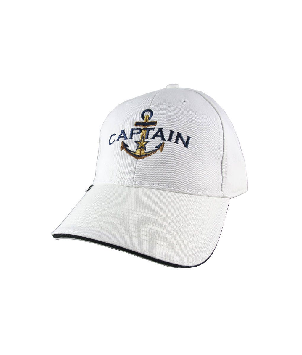 0bd7d455e4a08 Personalized Captain Star Anchor Embroidery on an Adjustable White  Structured Fashion Baseball Cap with Options to Personalize Side Back