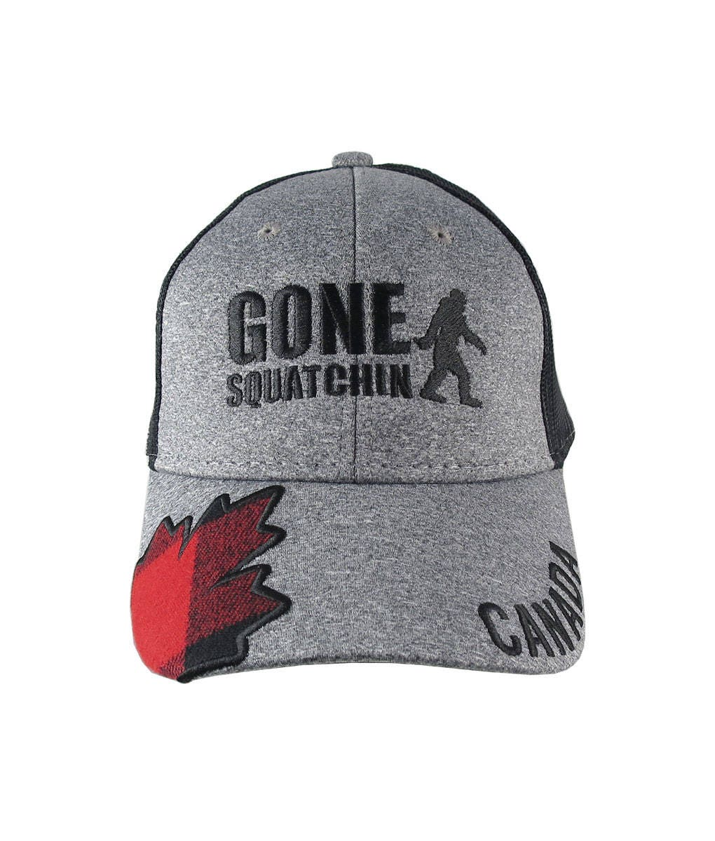 Gone Squatchin Sasquatch Bigfoot Canada Embroidery and Buffalo Check Plaid  on Adjustable Heather Grey and Black Trucker Style Baseball Cap 06929682d8b