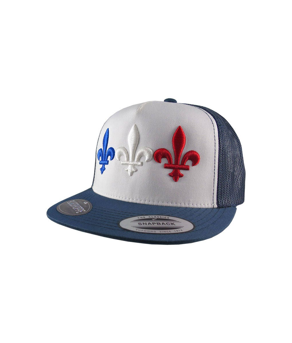 Triple Fleur de Lys 3D Puff Embroidery France Flag Adjustable Navy White  Yupoong Structured Truckers Style Snapback Ball Cap Fleur de Lis 59781d6cf37f