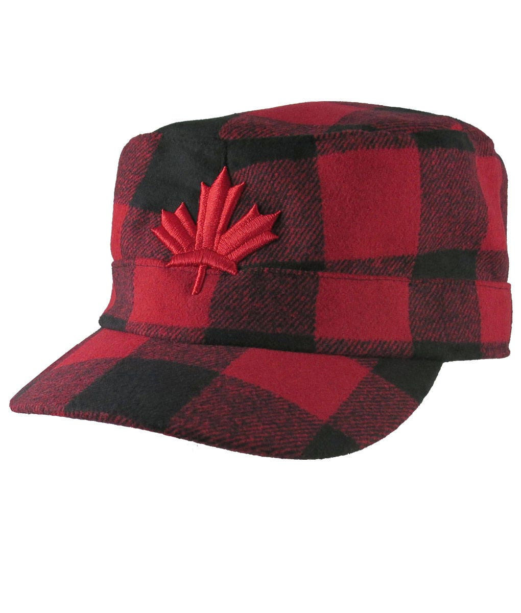 95120a399ec Red Maple Leaf 3D Puff Embroidery Red + Black Buffalo Check Plaid Lumberjack  Military Flat Cap Style Full Fit Winter Adjustable Woolen Hat
