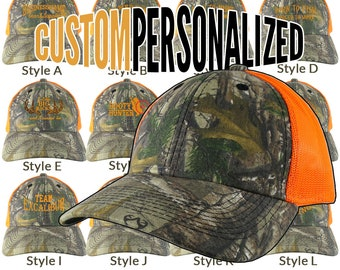 Custom Personalized Safety Orange Embroidery on an Adjustable Realtree Camo Safety Orange Trucker Cap Your Choice  16 Front Decors Hunt Fish