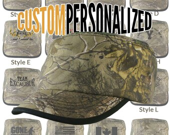 Custom Personalized Black Embroidery on an Adjustable Realtree Camo and Black Military Cadet Cap Your Choice of 16 Front Decors Hunt Fish