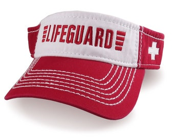 Lifeguard Embroidery on an Adjustable Red and White Visor Cap