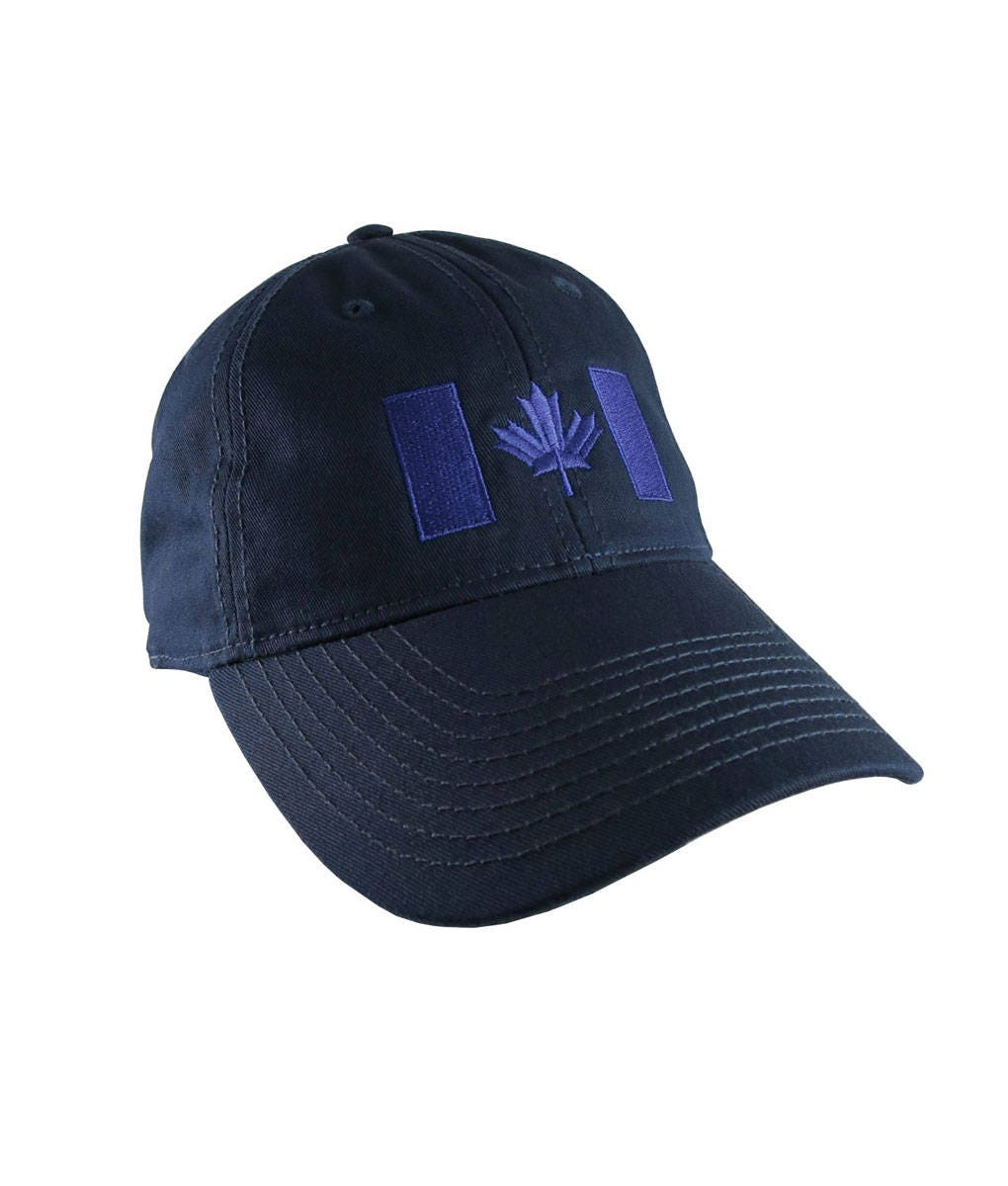 10673ec3db2cc Canadian Flag Royal Blue Embroidery Design on a Dark Navy Blue Adjustable  Unstructured Baseball Cap Dad Hat for a Tone on Tone Fashion Look