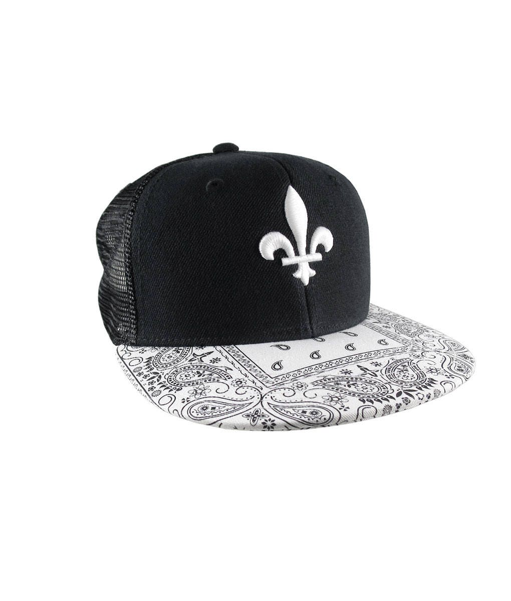 3D Puff Embroidery White Fleur-de-Lis on a White Bandana Retro Flat Bill  Structured Adjustable Black Trucker Style Baseball Cap Snapback 5a6bb074490a
