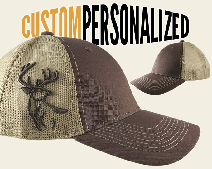 Featured listing image: Custom Personalized White Tail Deer 3D Puff Embroidery on Adjustable Full Fit Brown Trucker Cap with Your Choice of Front Decors Hunting Hat