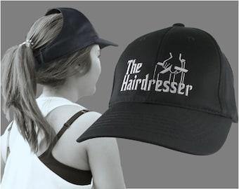 The Hairdresser Godfather Parody Style White Embroidery Design Adjustable Structured Black Ponytail Hairdo Women Open Fashion Baseball Cap
