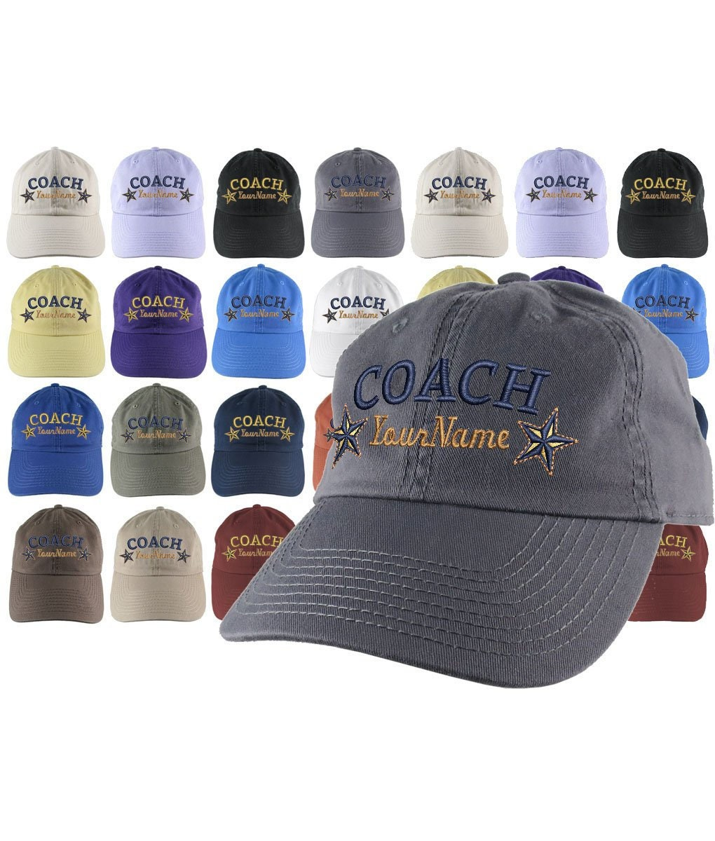 Custom Personalized Coach Name Stars Embroidery on Your Selection of  Adjustable Unstructured Baseball Cap Dad Hat + Option Back Embroidery 995c5eb9c56