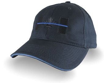 A Canadian Thin Blue Line Symbolic Black Blue Embroidery on an Adjustable Navy Brushed Cotton Twill Structured Adjustable Baseball Cap