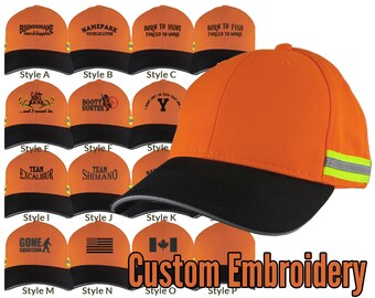 Custom Personalized Black Embroidery on an Adjustable Safety Orange Reflective Full Fit Baseball Cap Choice of 16 Front Decors Hunt Fish +++