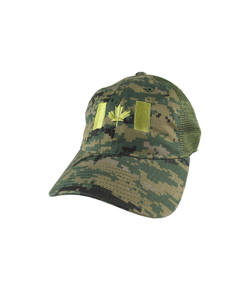 Canadian Flag Canada Embroidery on a Woodland Digital Camouflage  Unstructured Adjustable Classic Trucker Style Cap in Khaki green Back Mesh e8efa83cce66
