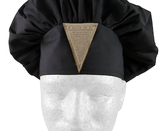 A Slice of Pi Math Pun Laser Engraved Genuine Leather Patch Sewn on an Adjustable Black Chef Hat Toque