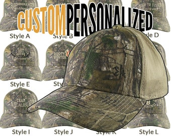 Custom Personalized Beige Embroidery on an Adjustable Realtree Xtra Camo Beige Tan Classic Trucker Cap Your Choice 16 Front Decors Hunt Fish
