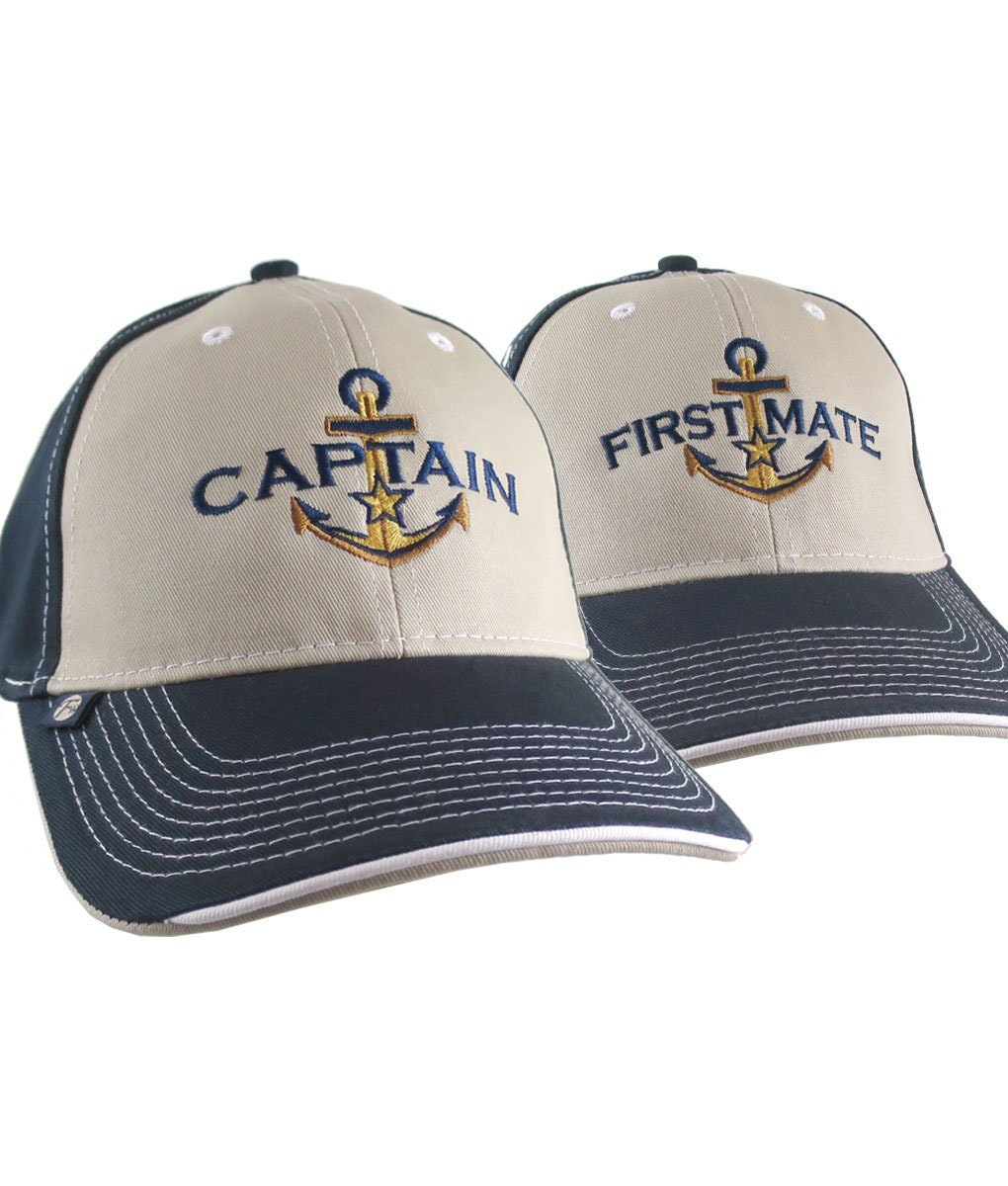 424cc01e4ef15 2 Hats Nautical Golden Star Anchor Captain + First Mate Embroidery  Adjustable Beige + Navy Structured Baseball Caps + Options to Personalize