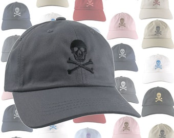 Custom Skull Crossbones Pirate Your Color Choice Embroidery Selection of 9 Hat Colors Adjustable Unstructured Baseball Cap Dad Hat Style