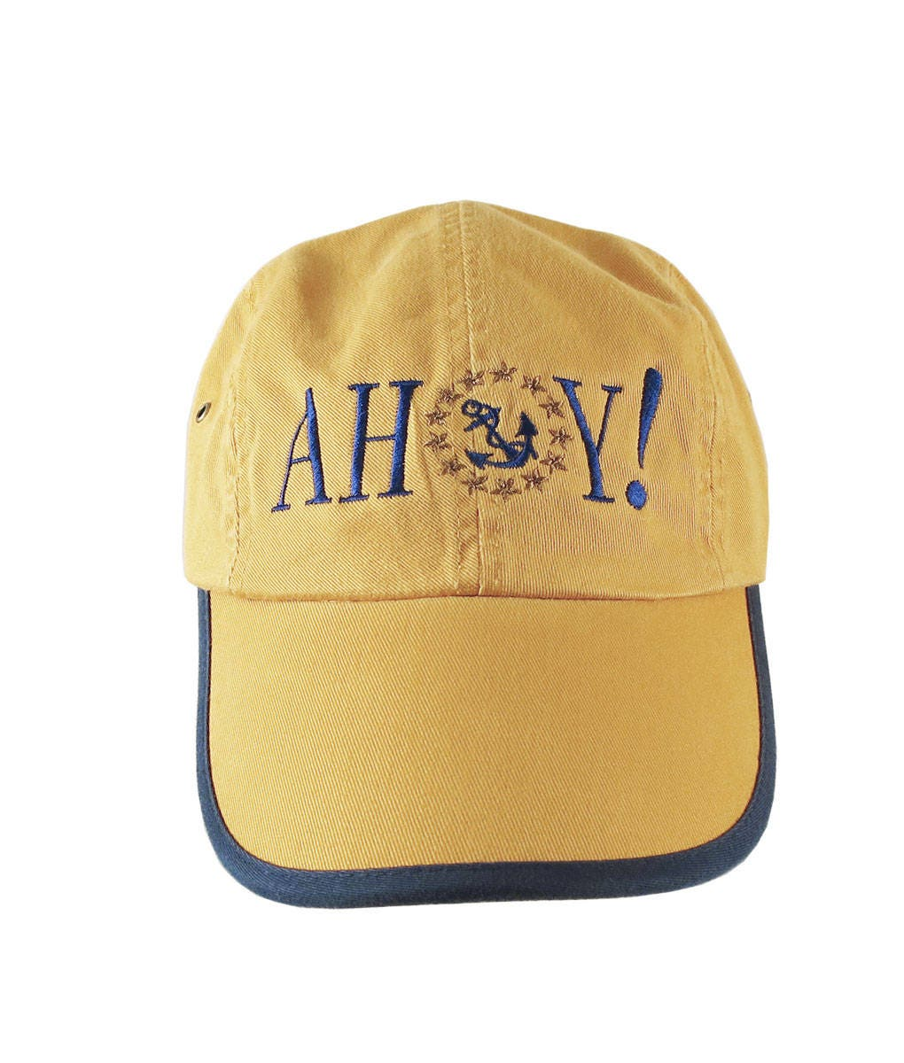 3c9784956f0 American Yacht Anchor Greeting Embroidery on Polo Style 5 Panel Adjustable  Mango and Navy Unstructured Cap for the Boating Enthusiast