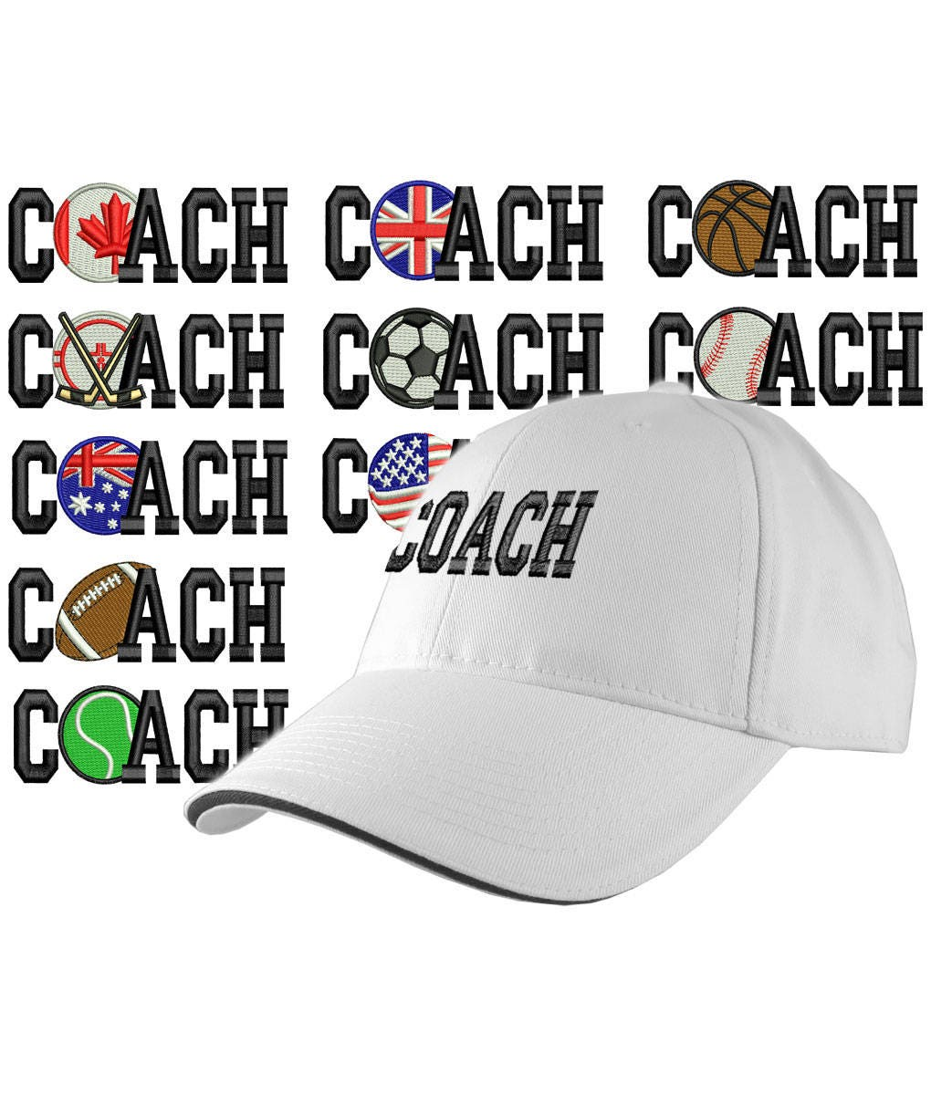 18ae54b90bc Custom Personalized Coach Embroidery on an Adjustable Structured White  Baseball Cap Front Decor Selection with Options for Side and Back