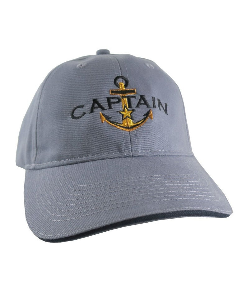 99a2ffb88 Personalized Captain Golden Star Anchor Embroidery Adjustable Steel Blue  Structured Fashion Baseball Cap + Options to Personalize Side Back