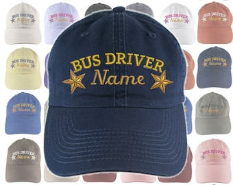 Custom Personalized Bus Driver Stars Embroidery Selection of 16 Colors Adjustable Unstructured Baseball Cap Dad Hat +Option Back Embroidered