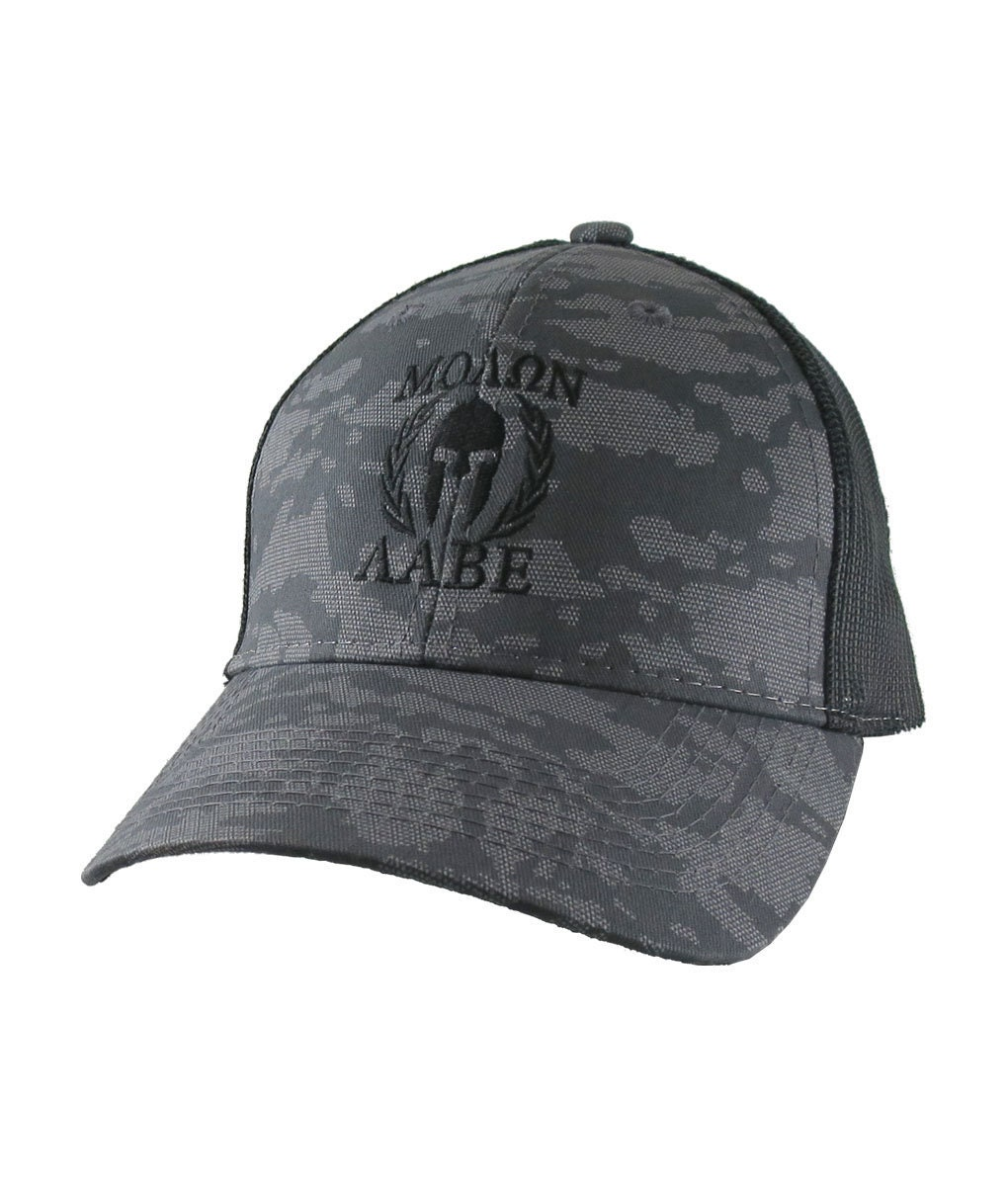 8511d928 Molon Labe Roman Spartan Warrior Mask in Laurels Black Embroidery on an  Adjustable Urban Camo Structured Trucker Style Snapback Ball Cap