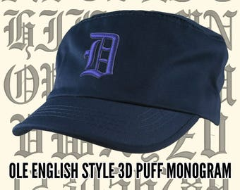 Your Custom Personalized 3D Puff Ole English Monogram Embroidery on an Adjustable Navy Blue Unstructured Fashion Army Military Cadet Cap