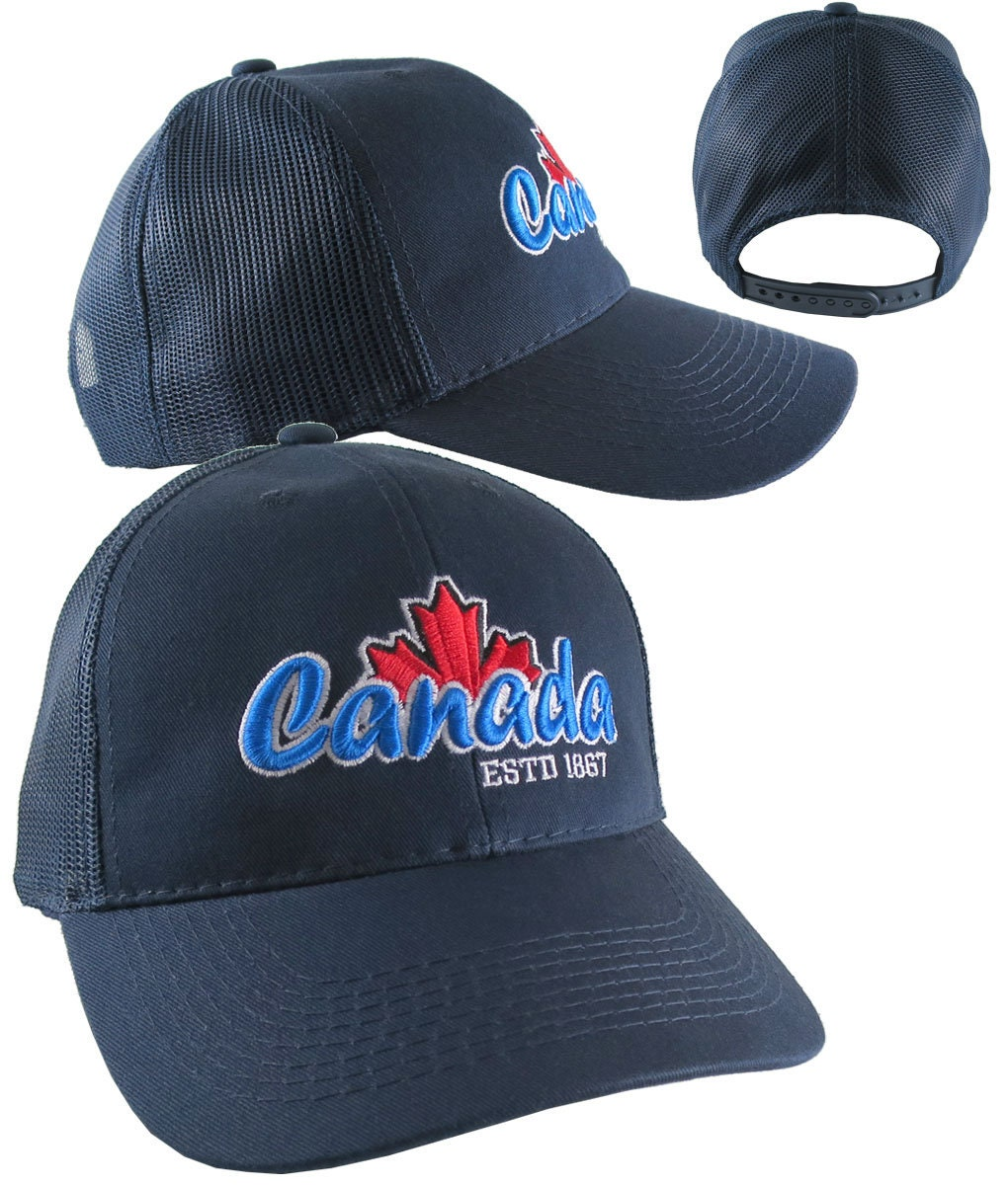 288c677ee95fa Canada 3D Puff Raised Embroidery ESTD 1867 on an Adjustable Navy Blue Full  Fit Classic Trucker Cap Happy Canada Day + Option to Personalize