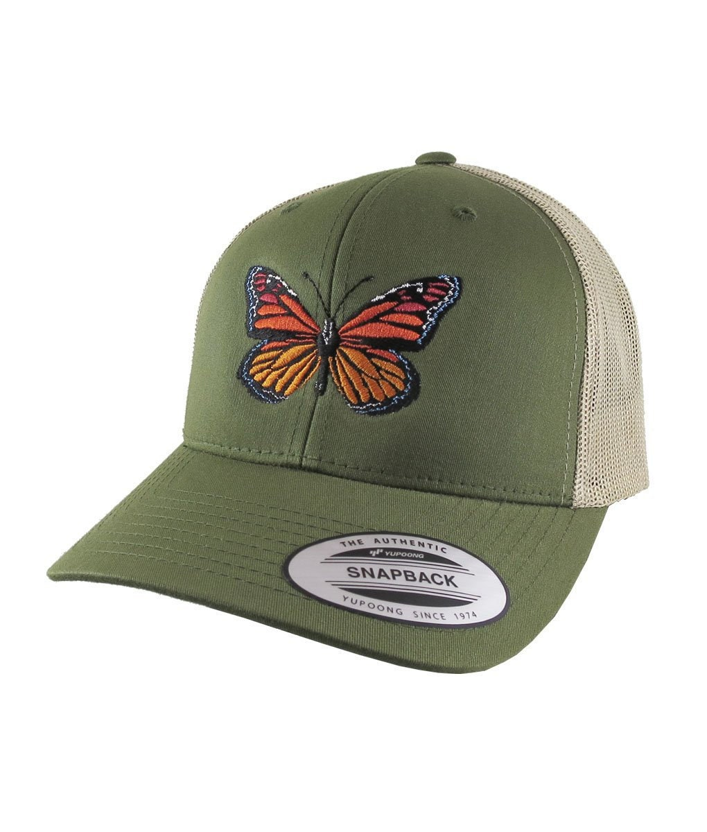 2be13c41f5f Monarch Butterfly Embroidery on an Adjustable Olive Green and Tan Yupoong  Structured Classic Trucker Style Snapback Ball Cap