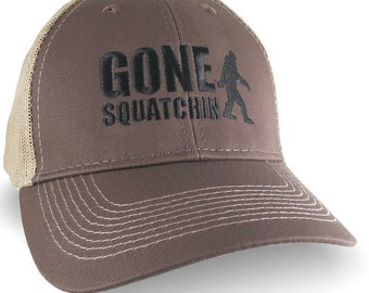 Gone Squatchin Humorous Sasquatch Bigfoot Silhouette Black Embroidery on an Adjustable Brown Trucker Style Ball Cap