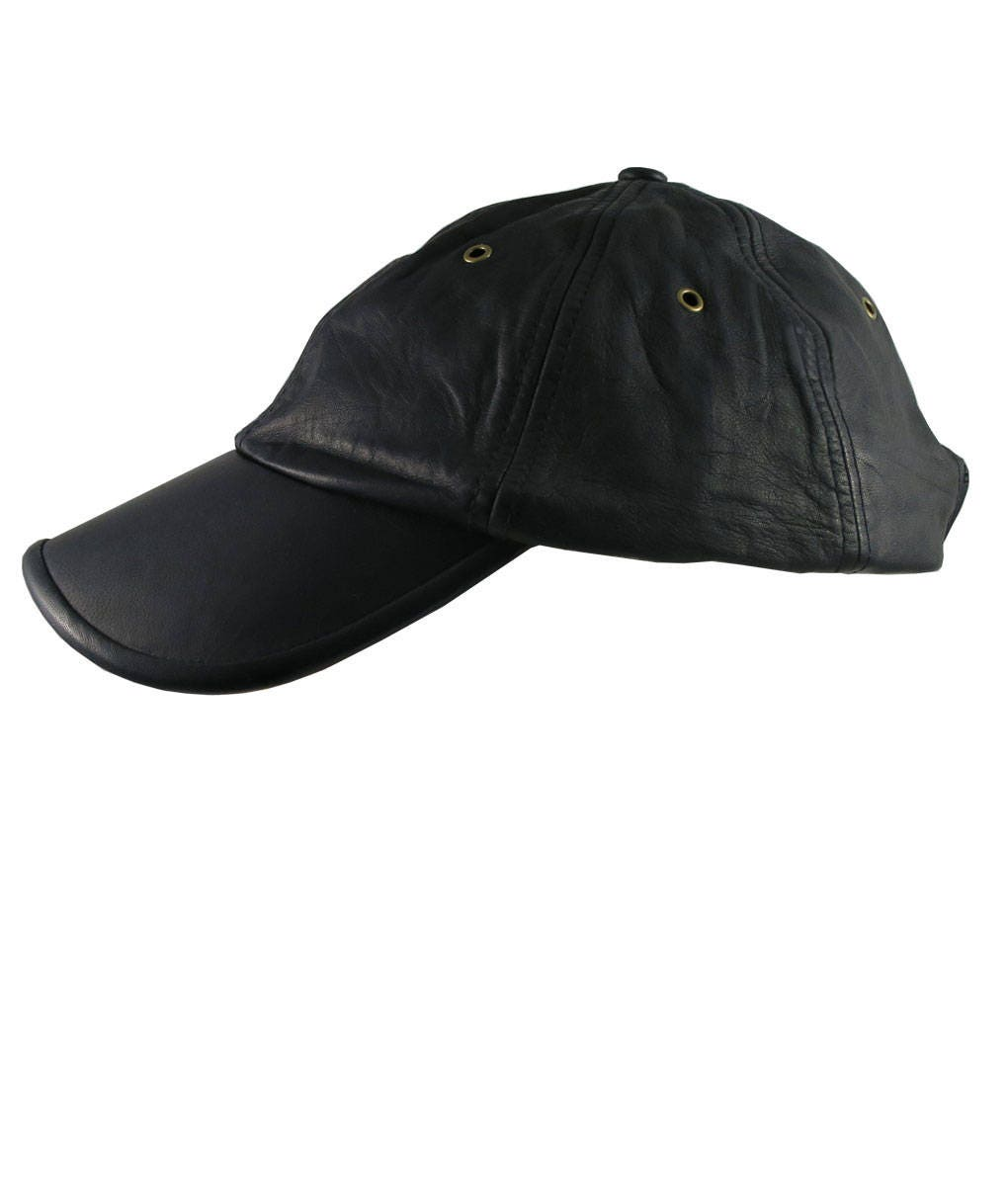 eb5adb6be94 Genuine Black Leather Low Profile Adjustable Fashion Baseball Cap ...