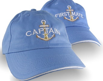 Captain First Mate Nautical Duo Couple Embroidery Adjustable Stylish Unstructured Sky Blue Baseball Caps Dad Hats Options to Personalize