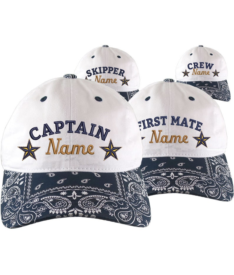 853aa908c Custom Personalized Captain First Mate Skipper Crew Embroidery on a Navy  Blue Bandanna Adjustable Unstructured Baseball Cap Dad Hat + Option