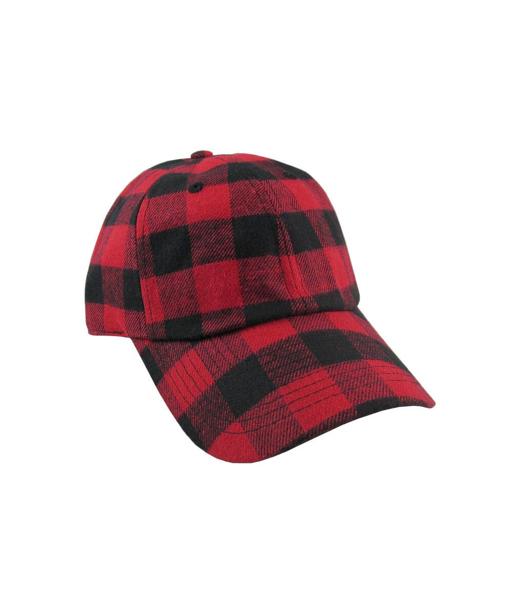 bd4fc2a5d5dde Personalized Red Buffalo Check Plaid Pattern Soft Structured Fashion  Baseball Cap Dad Hat Style Options to Personalize Front and or Back