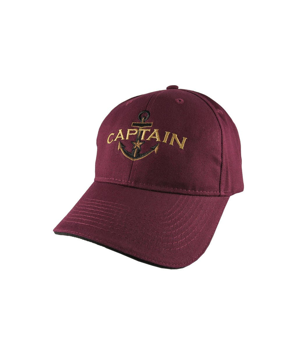 7230b8f48 Personalized Captain Star Anchor Embroidery Adjustable Burgundy and ...